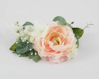 wedding hair clip, pastel flower clip, bridal hair clip, floral hair clip, ranunculus hair clip, pink and white flower hair clip, greenery