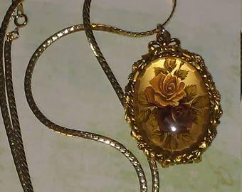 Max Factor Hypnotique Creme Perfume Floral Rose Locket Necklace, Gold Tone,  Vintage