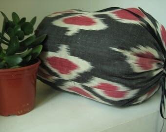 A Stylish Handwoven Ikat Silk Pillowcase from Uzbekistan