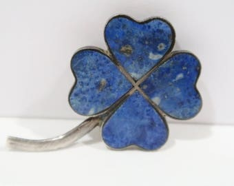 970 Silver Lapis flower brooch