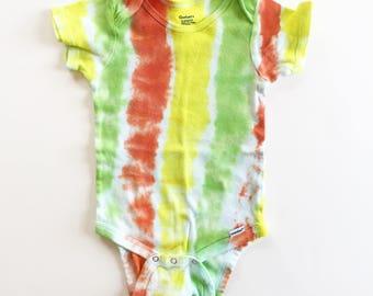Rainbow Sherbet tie dyed onesie