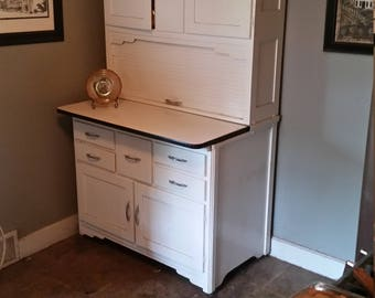 Antique White Bakers Hutch with flour sifter from 1930's