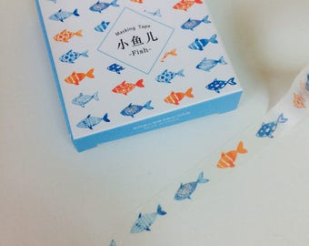 Slim Fish Washi Tape - Orange + Blue - Nautical Theme