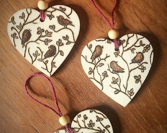 Pyrography wooden hearts (Birds)