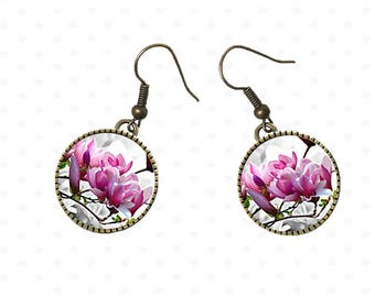 Magnolia earrings pink flowers on canvas garden spring, mother's day. E4
