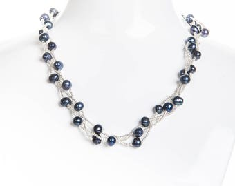 Blue Braided Freshwater Pearl Necklace 7mm