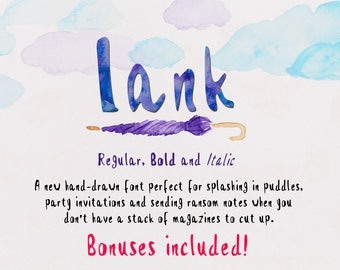 Lank - Hand Drawn Font - Includes Regular, Bold and Italic