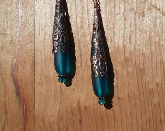 Real and Copper Drop Earrings