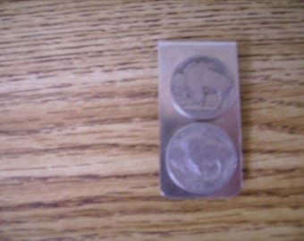 Buffalo Nickle Stainless Steel Money Clip, 2 Nickles