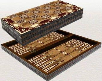 """Backgammon set travel foldable family board game set, motive design Yenigun 20"""""""