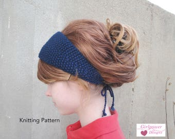 Tie Back Headband Knitting Pattern, Quick Knit, DK Worsted Yarn, Seed Stitch, Short Rows