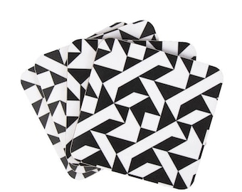 Black and White Coasters with a Geometric Print.