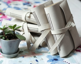 Journal - Long Stitch - Leather - Notebook - Cream