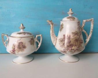Vintage Bone China fairytale French teapot and sugar bowl -very pretty