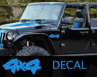 Set Of 2 4x4 Decals, 4x4 Decal, 4x4 Sticker, Jeep Decal, Jeep Sticker, Jeep Wrangler Decals, Off Road Decals, Off Road Stickers,Rubicon