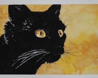 Black cat watercolor and ink original painting. Watercolor painting of a black cat with yellow eyes. Mixed media original art.