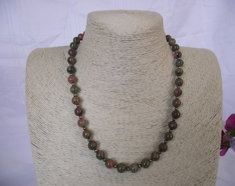 Unakite And Pyrite Necklace With Rose Gold Over Sterling Silver