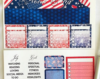 50% off July Notes pages for the 2017 and 2018 Erin Condren fourth of July Independence Day