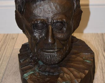 Bronze Abraham Lincoln Head Sculpture