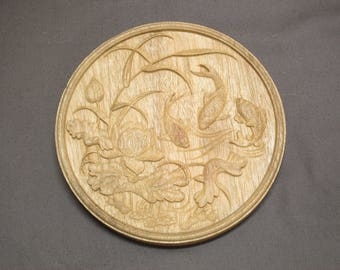 wood carving dish.Three fish in Lotus pond.Wood carving-Wood discs carving-Wood Circles-Wooden carving-Wooden discs carving-Wood art