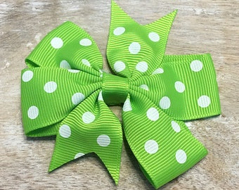 Key Lime Green and White Polka Dot Grosgrain Ribbon Bow, Alligator clip, Barrette, 3 inches wide, Hairbow, Girls