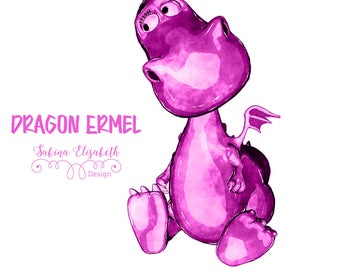 Dragon Ermel 5, pink, Watercolor Clipart, Baby, Child, Fun, Craft