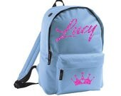 Personalised Glitter Name Girls Boys Blue Pink Kids Backpack Nursery School Bag Childrens Rucksack