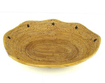 Oval Ata Basket with Black Dots