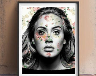 Adele Floral Art Print or Canvas, Wall Art, Artwork, Painting, Gift