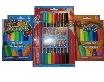 20 Coloring Drawing Markers kids and adults 6 Scented 8 Double Sided 6 Line Art Drawing Sets for all your handmade work