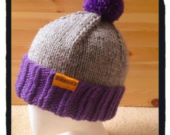 Ladies or Mens Hand Knitted Hat, Purple & Grey