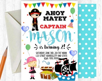 Pirate Birthday Invitation, Pirate Invitation, Pirate Invite, birthday invite, Birthday Party,  Printable Invitation
