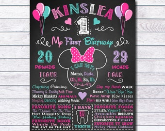 Minnie Mouse First Birthday Chalkboard Sign