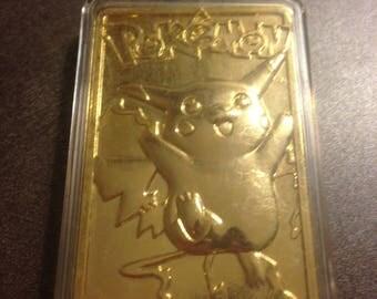 NEW-IN BOX- 23 Karat Gold-Plated Pokemon Pikachu Trading Card