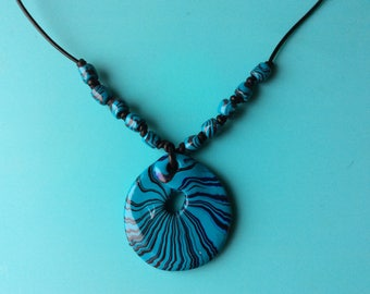 Handcrafted multicoloured beaded pendant necklace