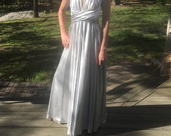 Silver Charmeuse Prom Dress (New)
