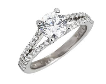 Style #183-E, 14K gold CZ (Cubic Zirconia),  Engagement Ring