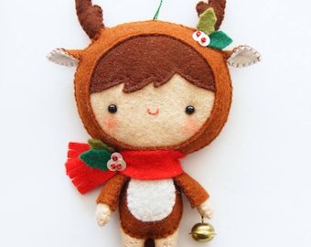 Felt PDF sewing pattern - Reindeer pixie - Felt softie, Christmas tree ornament, hand sewing DIY project, easy sewing pattern, pocket toy