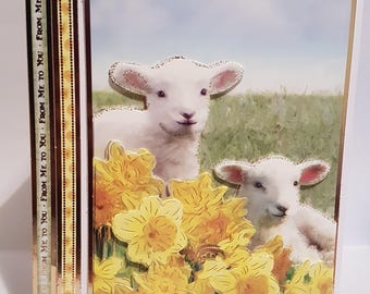 Spring lamb decoupage greeting card