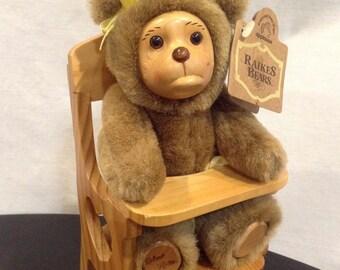Raikes Teddy Bear Lisa Marie in High Chair Sad Tears Crying 1990