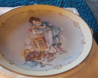 """Playing Moma -Collectors plate by Maud Humphrey Bugart Part of """"Little Ladies"""" collection"""