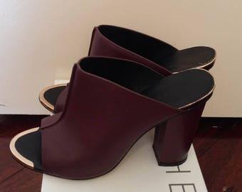 womens leather shoe mule high heel