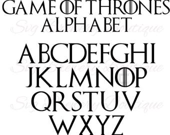 Game of thrones alphabet, fonts svg, png, dxf for cricut, silhouette studio, cutting machines, vinyl decal, stencil template, t shirt design