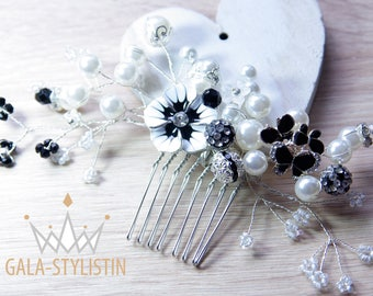 Bridal hair comb hair jewelry wedding black & white with pearls, Rhinestones, flowers and Butterfly