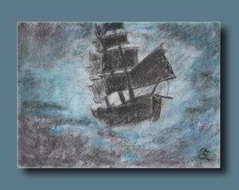 Sketch of a boat who survived a violent storm