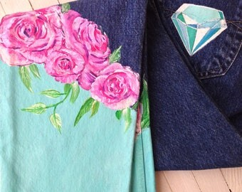 Hand painted jeans in Tiffany style with flowers and diamonds