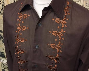 """Original 1960s Brown Shirt with Bronze Embroidery by Globe Trotter Size 46"""" XL"""