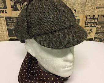 """Vintage Harris Tweed Deerstalker Hat Wool Herringbone Sherlock Holmes S/M 22"""""""