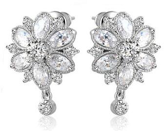 Crystal Bridal Zircon Earrings. Bridesmaids  Earrings, Crystal  Earrings, Wedding Jewellery