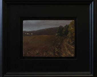 Moonlit Valley, oil painting on hardboard, 5x7 inches, in satin black frame